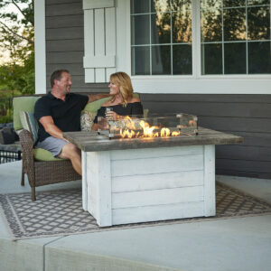 Rectangular Fire Tables – Alcott with couple – lifestyle