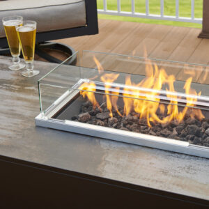 Rectangular Fire Tables - Kinney with Lave and Fold Down Wind Guard