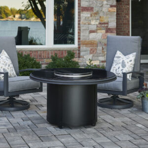 Round Fire Tables - Beacon Granite Black Burner Cover