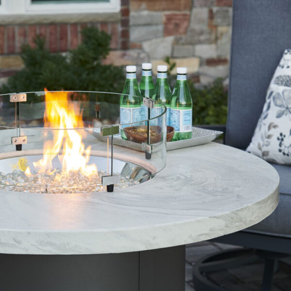 Round Fire Tables - Beacon White Onyx Close up
