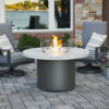 Round Fire Tables - Beacon White Onyx with Wind Guard