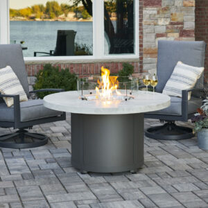 Round Fire Tables – Beacon White Onyx with Wind Guard