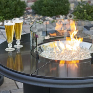 Round Fire Tables - Black Granite Beacon Chat Height
