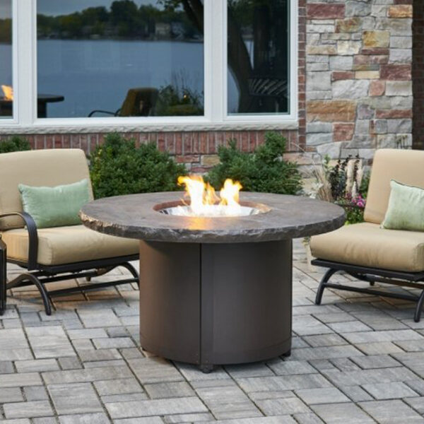 Round Fire Tables - Marbleized Noche Beacon Chat Height