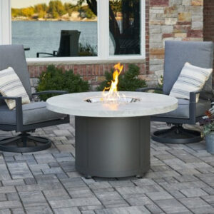 Round Fire Tables - White Onyx Beacon Chat Height