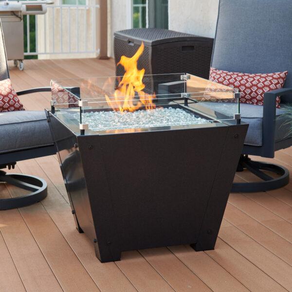 Square Fire Tables - AX GLASS WIND GUARD