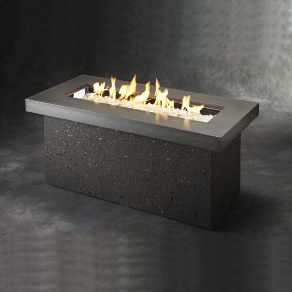 Rectangular Fire Table - Key Largo Grey Concrete withour Wind Guard