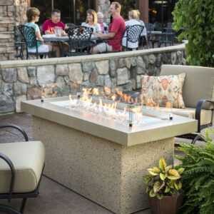 Rectangular Fire Table - Key Largo White with Wind Guard Lifestyle