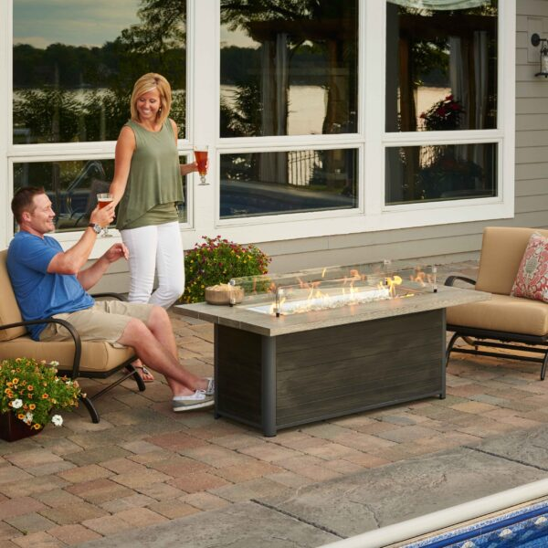 Rectangular Fire Tables - Cedar Ridge Lifestyle with Wind Guard