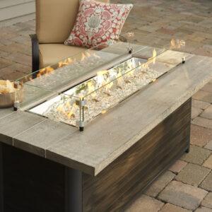 Rectangular Fire Tables - Cedar Ridge_close up_glass guard