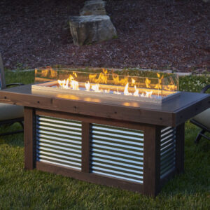 Rectangular Fire Tables - Denali Brew with Wind Guard