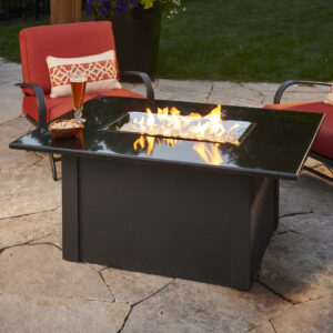 Rectangular Fire Tables – Grandstone Black Granite withour Wind Guard