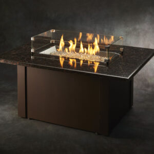 Rectangular Fire Tables - Grandstone Brown with Wind Guard
