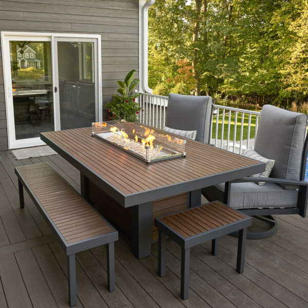 Rectangular Fire Tables - Kenwood Dining Table with wind Guard Rectangular