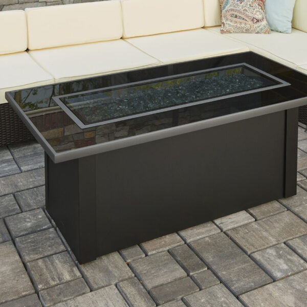 Rectangular Fire Tables - Monte Carlo Black Glass with Burner Cover Rectangular