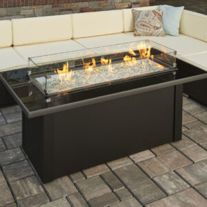 Rectangular Fire Tables – Monte Carlo Black Glass with Wind Guard Rectangular