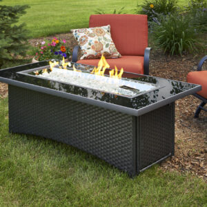 Rectangular Fire Tables - Montego Black with Wind Guard Rectangular