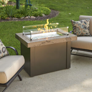 Rectangular Fire Tables - Providence Brown with Wind Guard