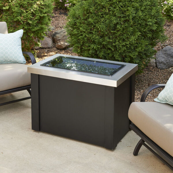 Rectangular Fire Tables - Providence SS with Burner Cover