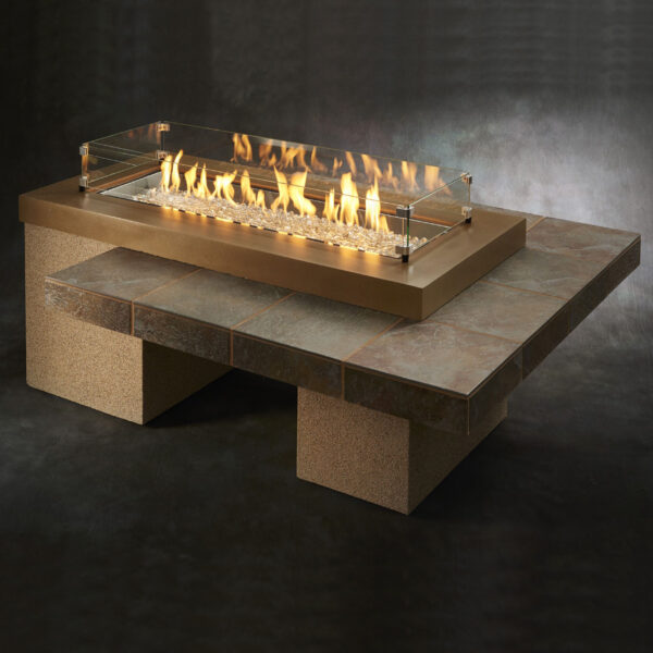 Rectangular Fire Tables - Uptown with Wind Guard Brown Rectangular