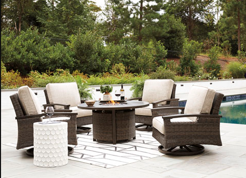 PARADISE TRAIL SWIVEL CLUB CHAIRS WITH FIRE TABLE ROUND
